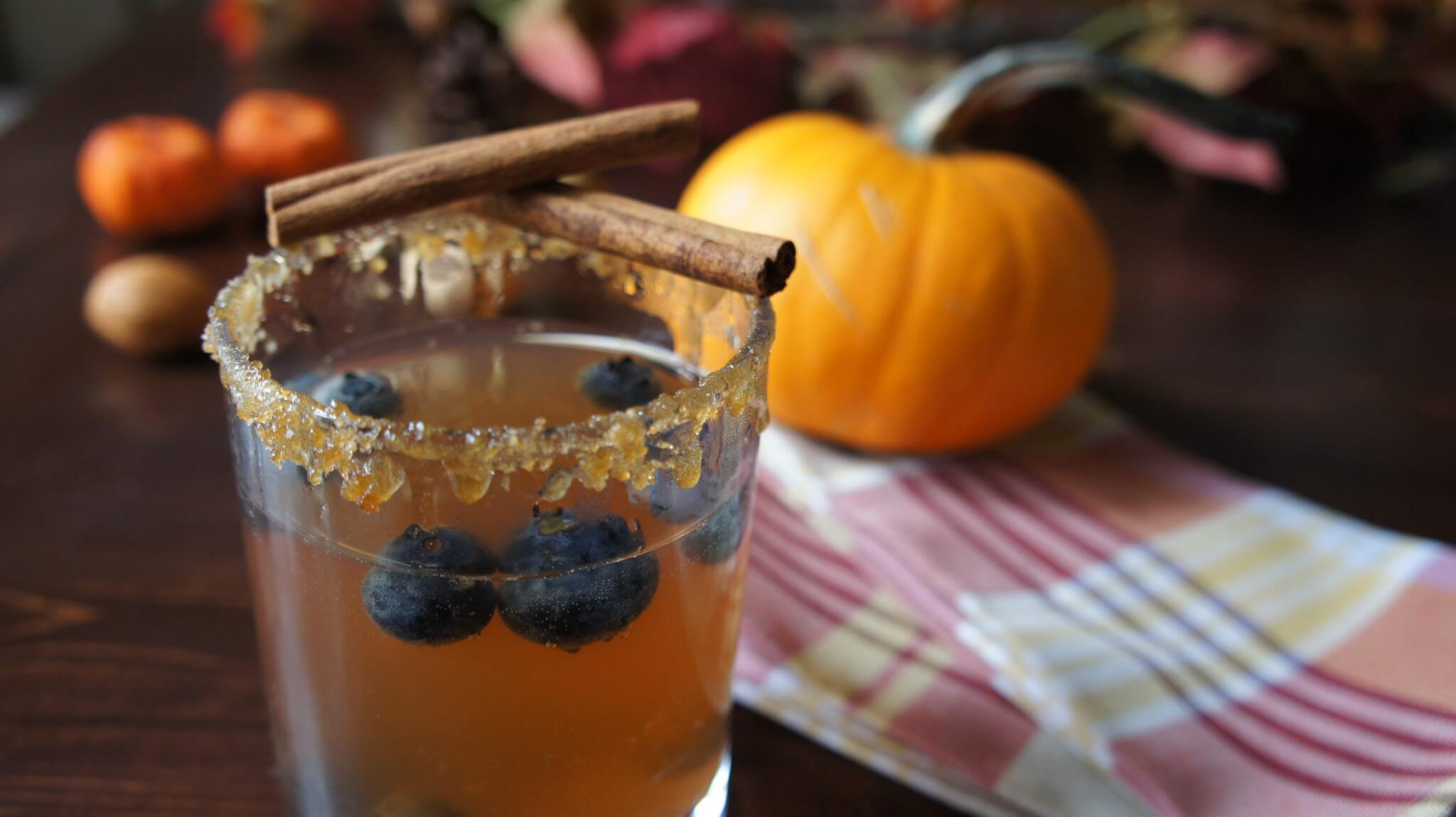 Fall inspired Wish Farms blueberries drink