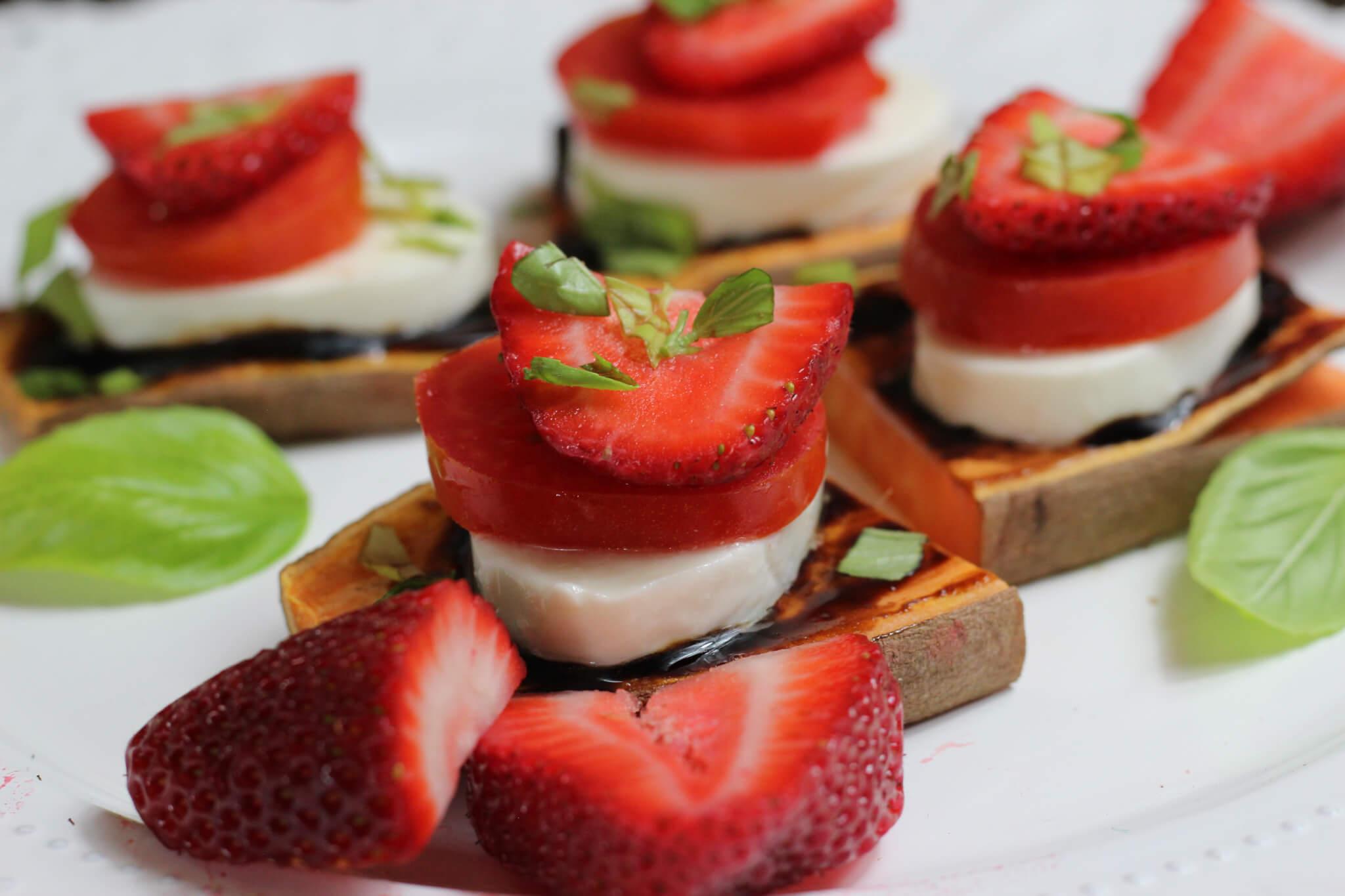 Sweet Potato Caprese Bites with Wish Farms Strawberries