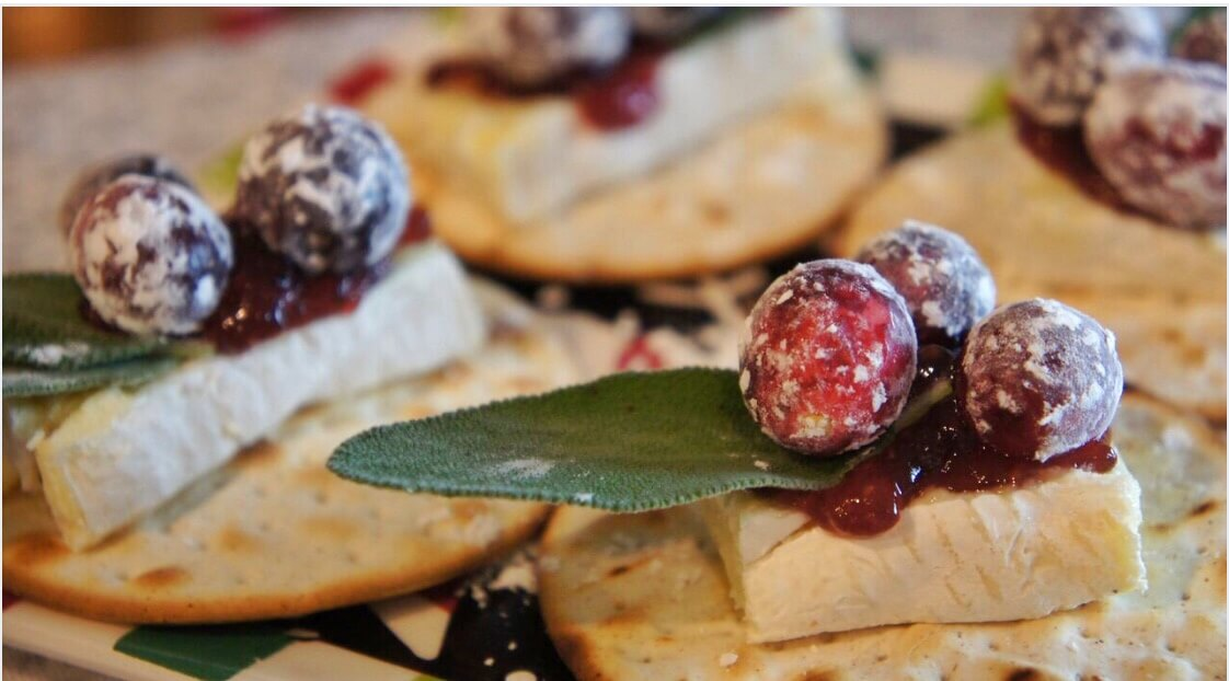 Sugared Cranberry Brie Crisps with Fresh Sage
