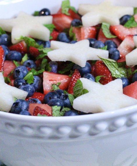 Mojito Fruit Salad with jicama, mint, and fresh Wish Farms Berries